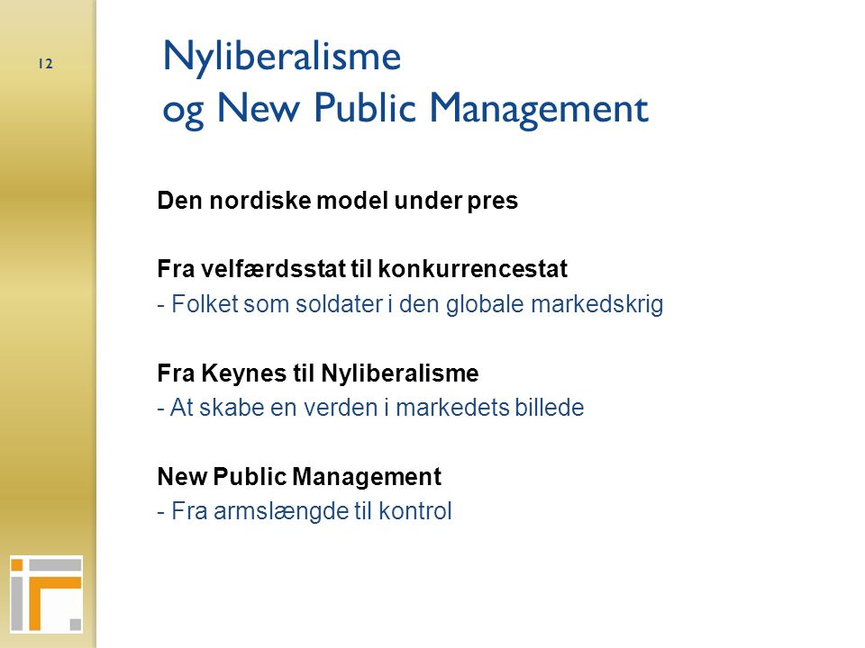 Nyliberalisme og New Public Management