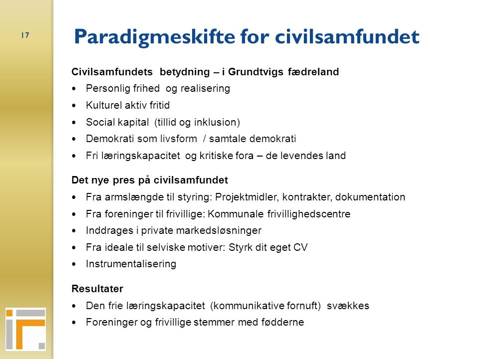 Paradigmeskifte for civilsamfundet