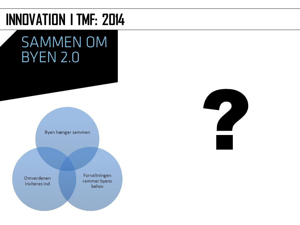 INNOVATION I TMF: 2014 Byen hænger sammen