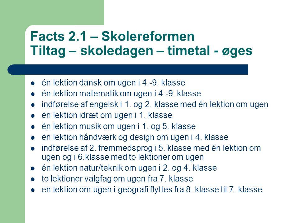 Facts 2.1 – Skolereformen Tiltag – skoledagen – timetal - øges
