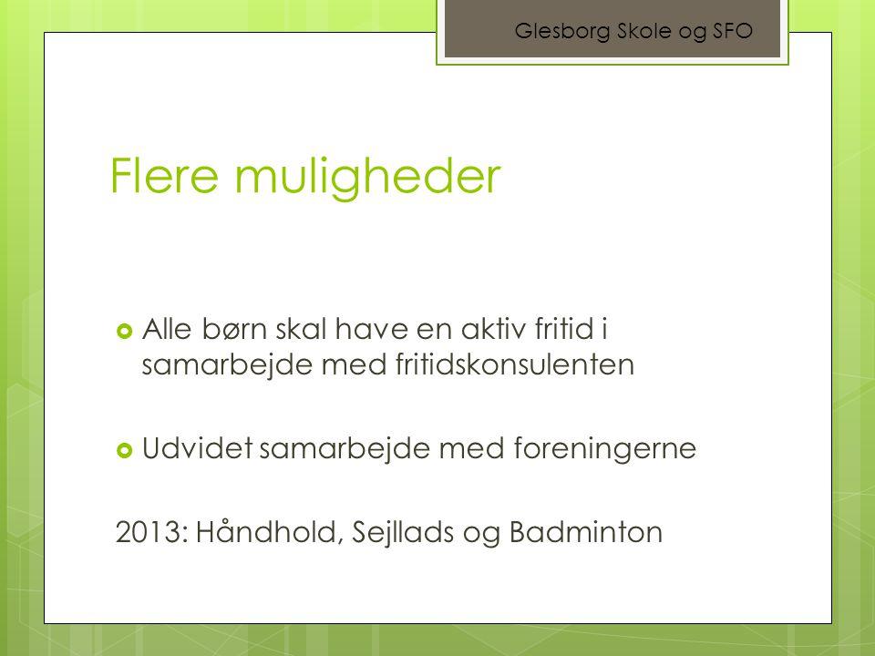 Glesborg Skole og SFO Flere muligheder. Alle børn skal have en aktiv fritid i samarbejde med fritidskonsulenten.