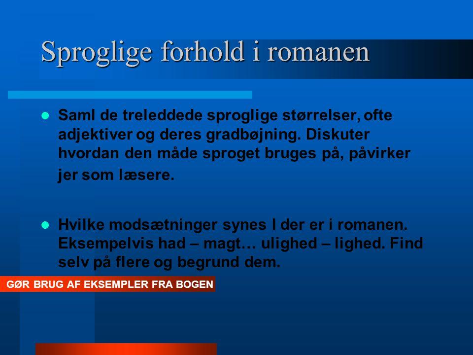 Sproglige forhold i romanen