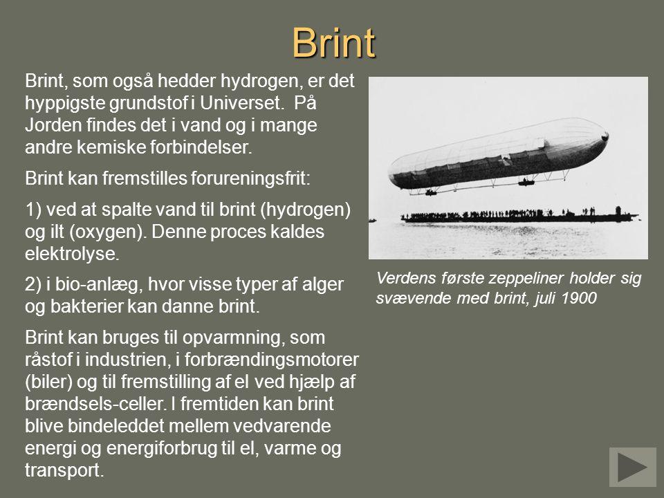 Brint Brint, som også hedder hydrogen, er det hyppigste grundstof i Universet. På Jorden findes det i vand og i mange andre kemiske forbindelser.