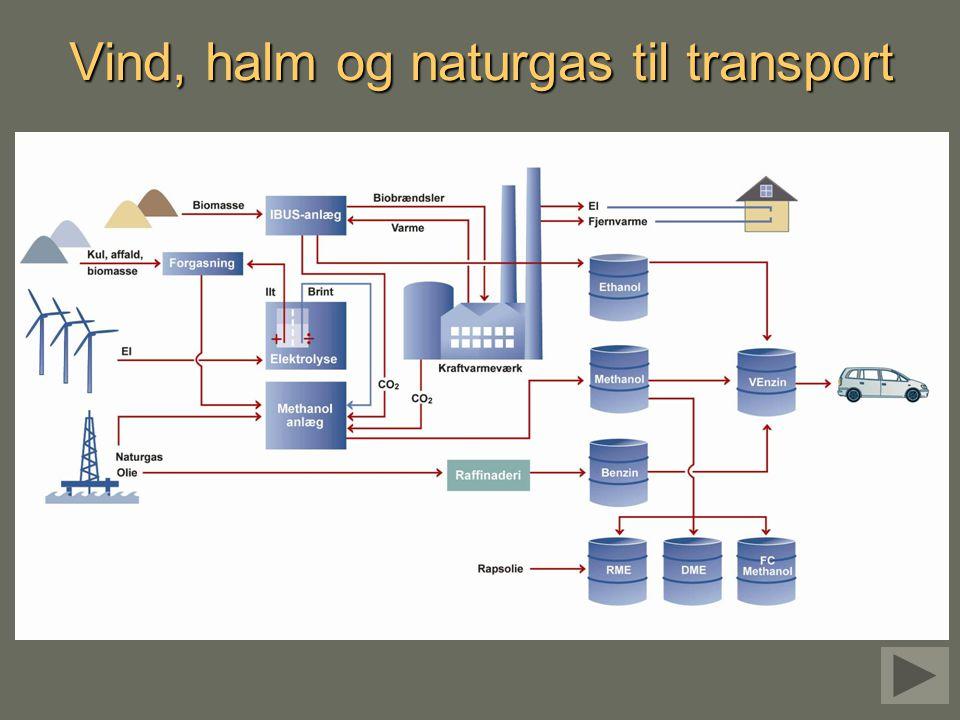 Vind, halm og naturgas til transport