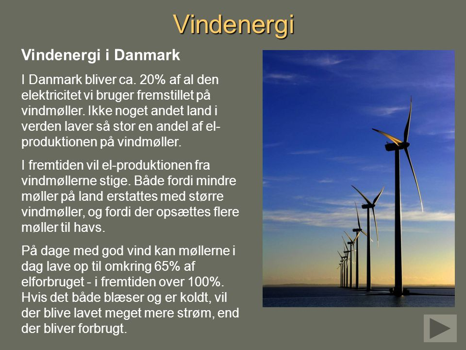 Vindenergi Vindenergi i Danmark