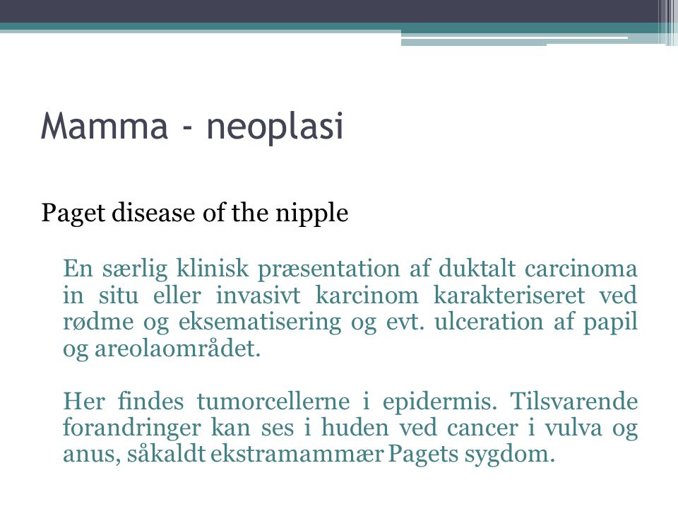 Mamma - neoplasi Paget disease of the nipple