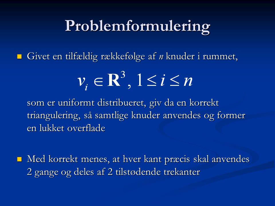 Problemformulering Givet en tilfældig rækkefølge af n knuder i rummet,
