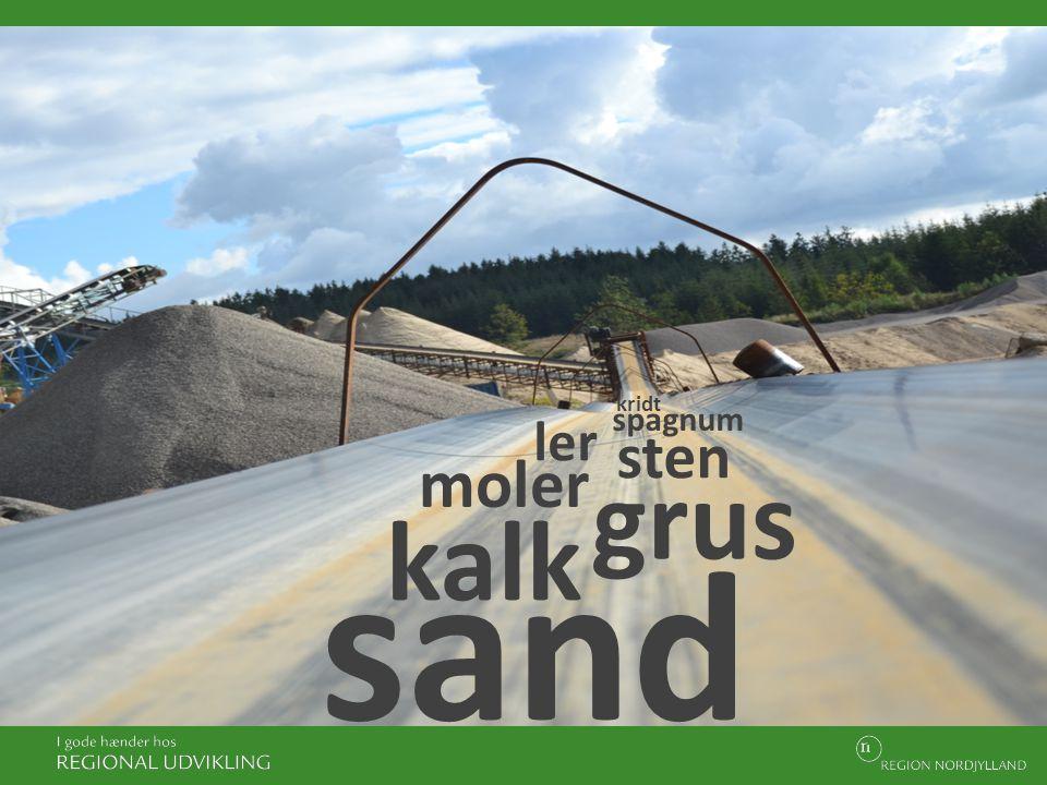 kridt spagnum ler sten moler grus kalk sand