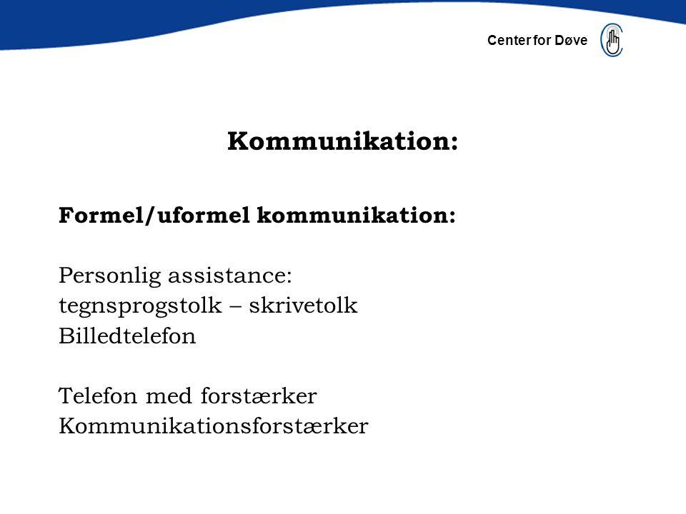 Kommunikation: Formel/uformel kommunikation: Personlig assistance: