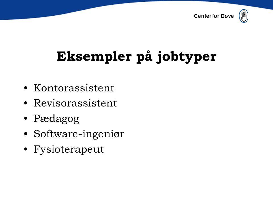 Eksempler på jobtyper Kontorassistent Revisorassistent Pædagog