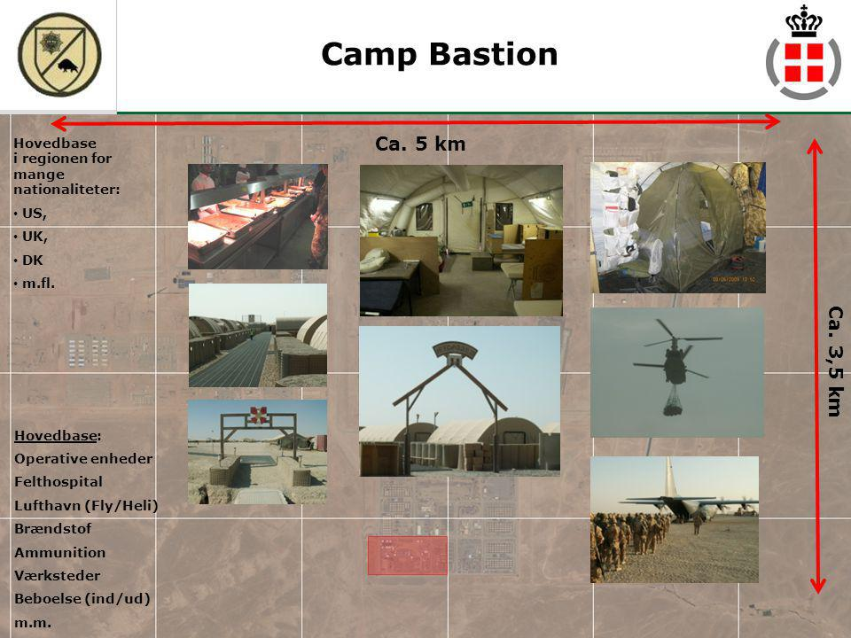 Camp Bastion Hovedbase i regionen for mange nationaliteter: US, UK, DK. m.fl. Ca. 5 km. Ca. 3,5 km.