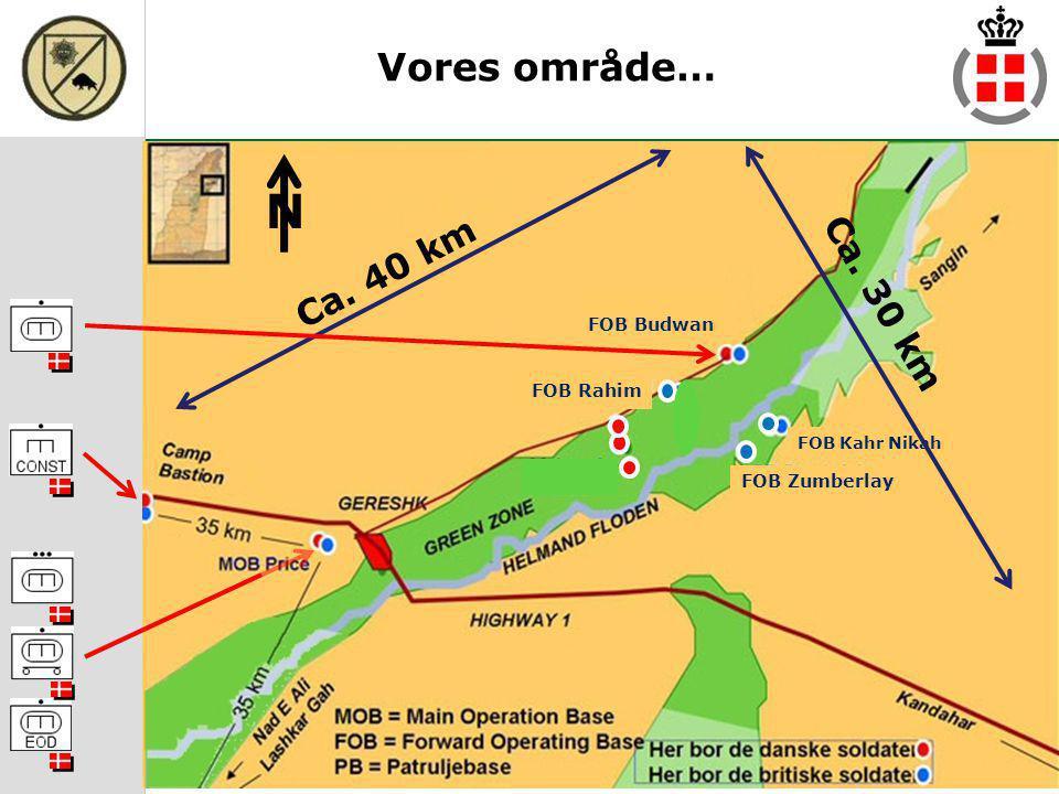N Vores område… Ca. 40 km Ca. 30 km FOB Budwan FOB Rahim FOB Zumberlay