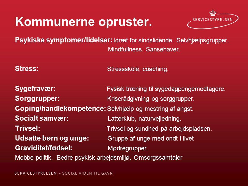 Kommunerne opruster. Psykiske symptomer/lidelser: Idræt for sindslidende. Selvhjælpsgrupper. Mindfullness. Sansehaver.