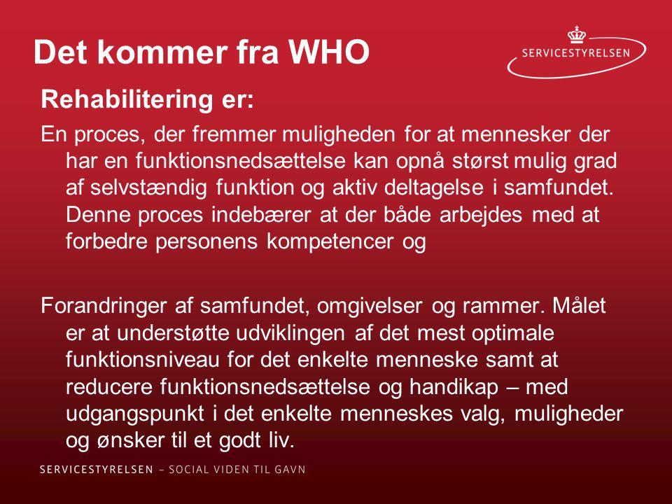 Det kommer fra WHO Rehabilitering er: