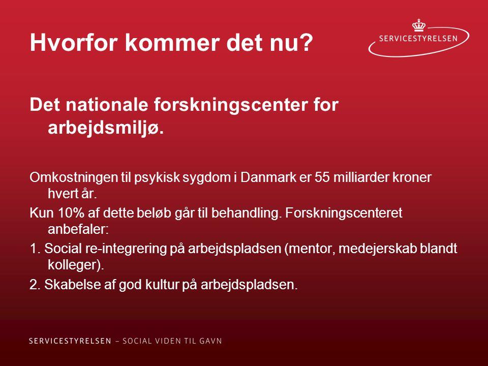 Hvorfor kommer det nu Det nationale forskningscenter for arbejdsmiljø. Omkostningen til psykisk sygdom i Danmark er 55 milliarder kroner hvert år.