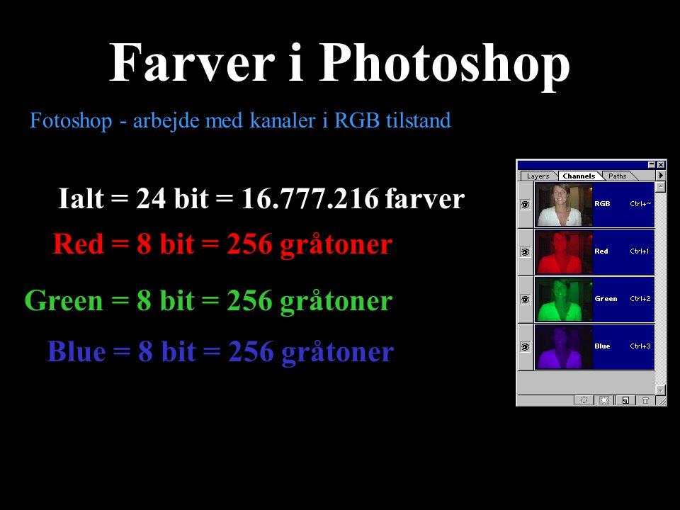 Farver i Photoshop Ialt = 24 bit = 16.777.216 farver