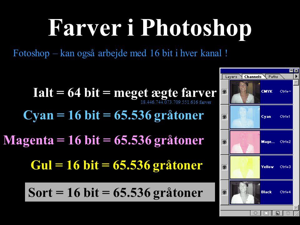 Farver i Photoshop Ialt = 64 bit = meget ægte farver