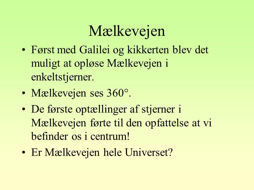 Mælkevejen Først med Galilei og kikkerten blev det muligt at opløse Mælkevejen i enkeltstjerner. Mælkevejen ses 360°.