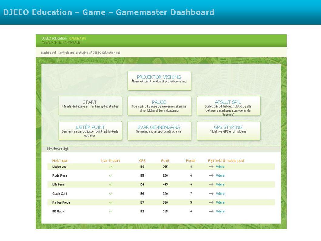 DJEEO Education – Game – Gamemaster Dashboard