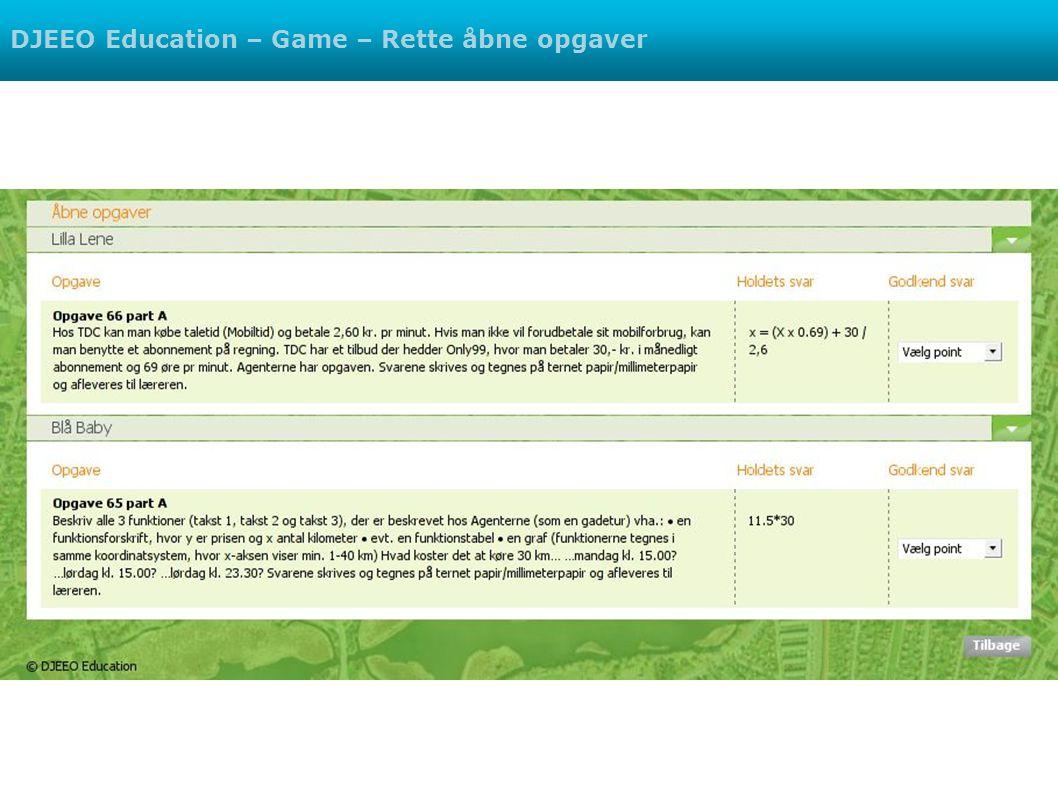 DJEEO Education – Game – Rette åbne opgaver