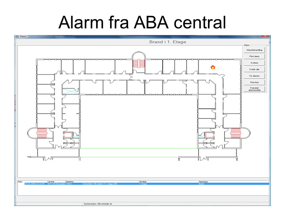 Alarm fra ABA central