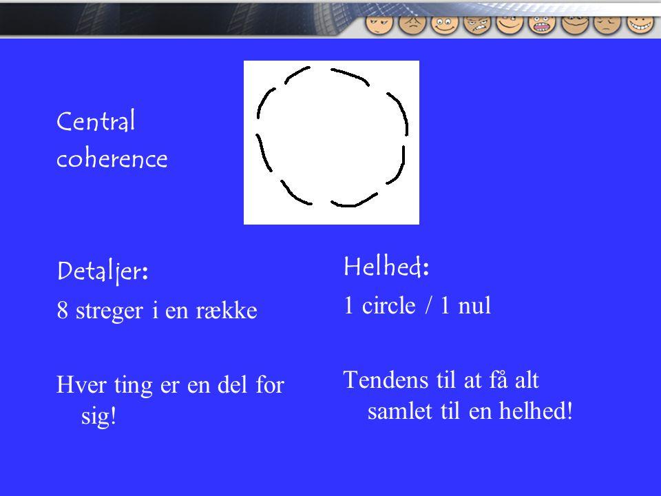 Central coherence. Detaljer: 8 streger i en række. Hver ting er en del for sig! Helhed: 1 circle / 1 nul.