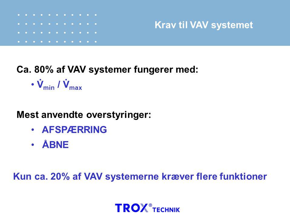 Krav til VAV systemet Ca. 80% af VAV systemer fungerer med: Vmin / Vmax. . Mest anvendte overstyringer: