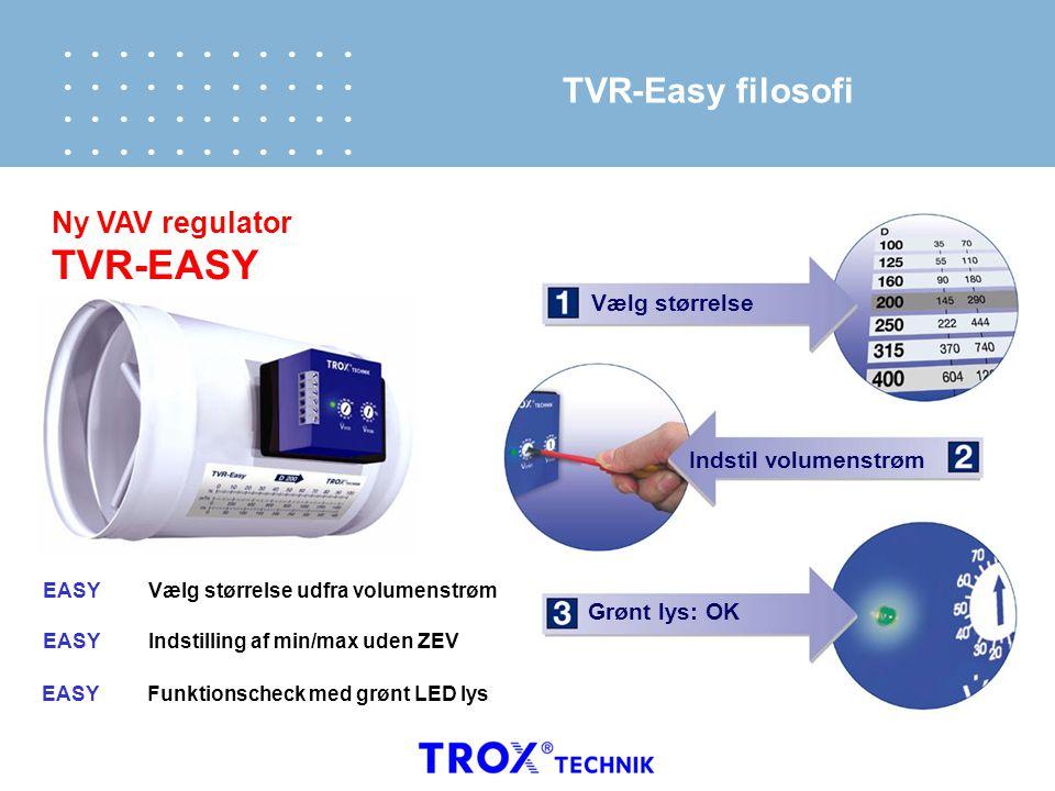 TVR-EASY TVR-Easy filosofi Ny VAV regulator Vælg størrelse