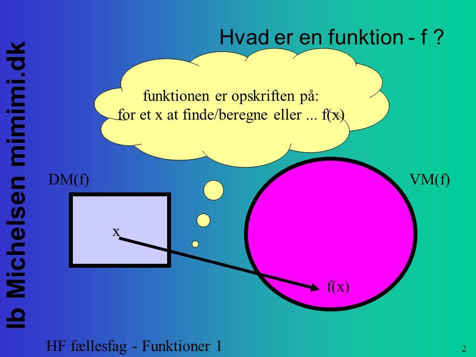 Hvad er en funktion - f funktionen er opskriften på: