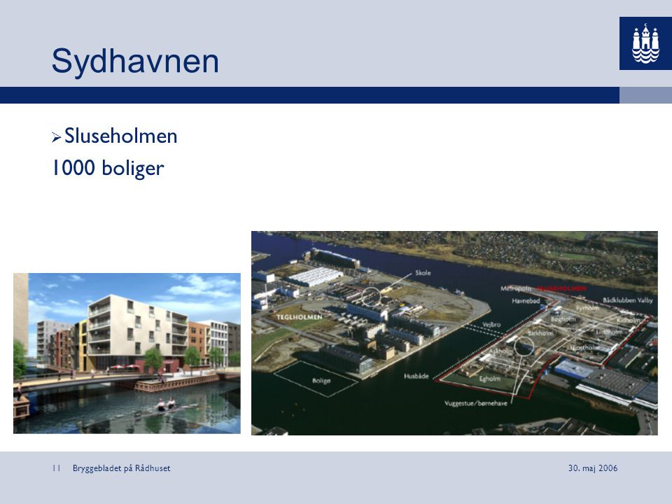 Sydhavnen Sluseholmen 1000 boliger Bryggebladet på Rådhuset