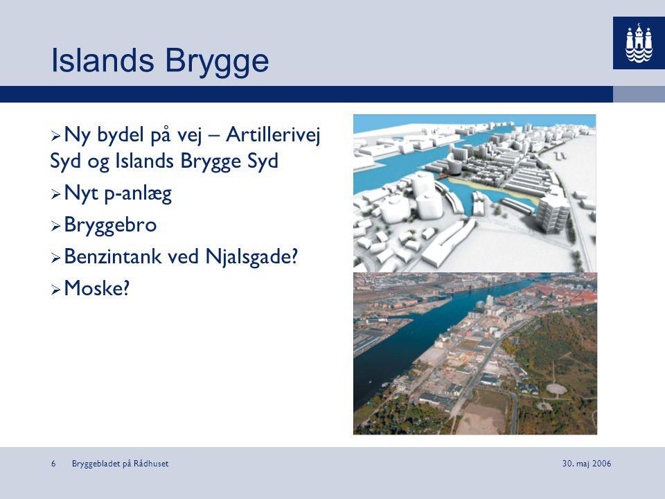 Islands Brygge Ny bydel på vej – Artillerivej Syd og Islands Brygge Syd. Nyt p-anlæg. Bryggebro. Benzintank ved Njalsgade