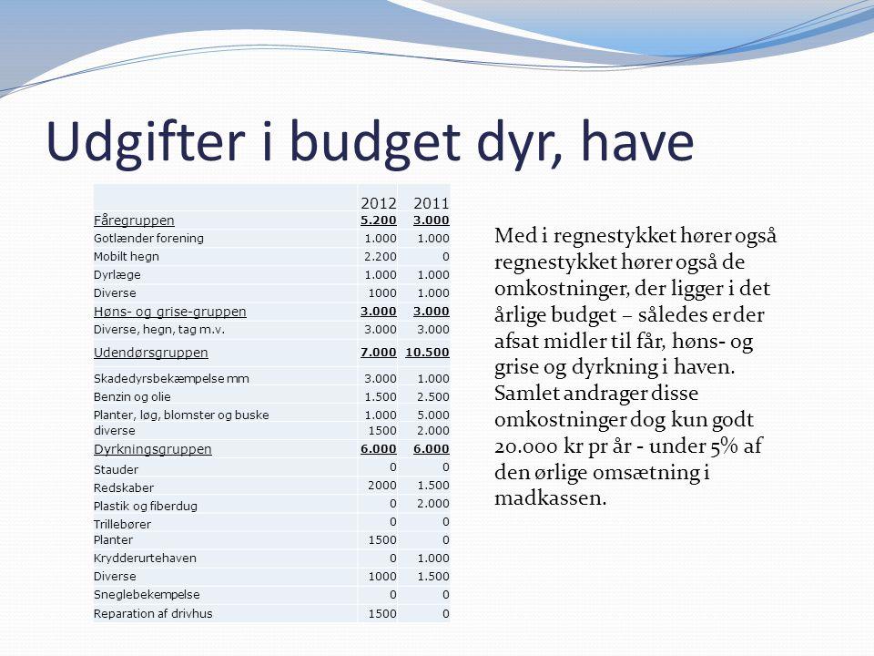 Udgifter i budget dyr, have