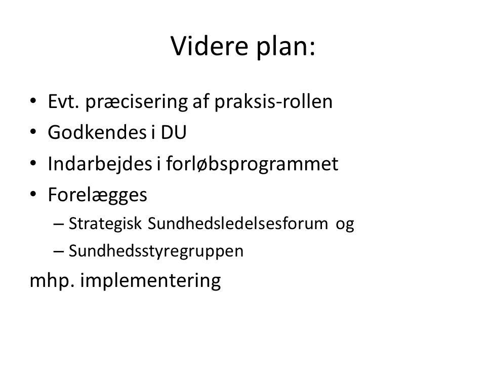Videre plan: Evt. præcisering af praksis-rollen Godkendes i DU