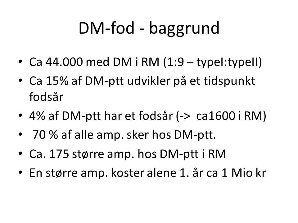 DM-fod - baggrund Ca 44.000 med DM i RM (1:9 – typeI:typeII)