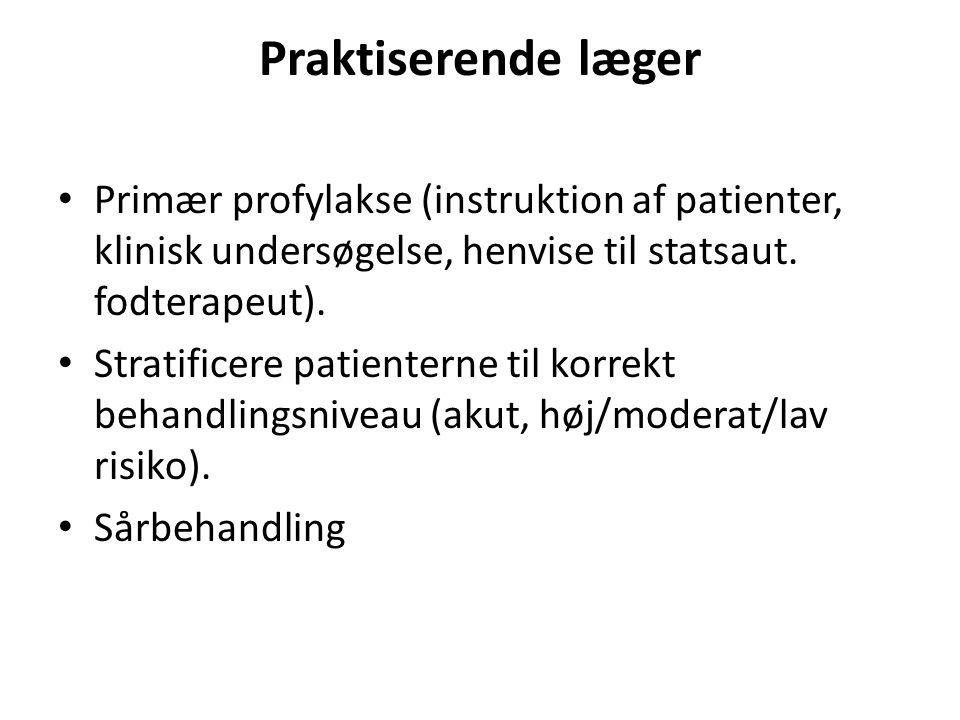 Praktiserende læger Primær profylakse (instruktion af patienter, klinisk undersøgelse, henvise til statsaut. fodterapeut).