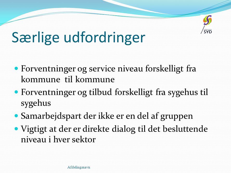 Særlige udfordringer Forventninger og service niveau forskelligt fra kommune til kommune.