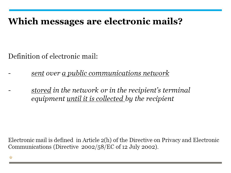 Which messages are electronic mails. Definition of electronic mail: -