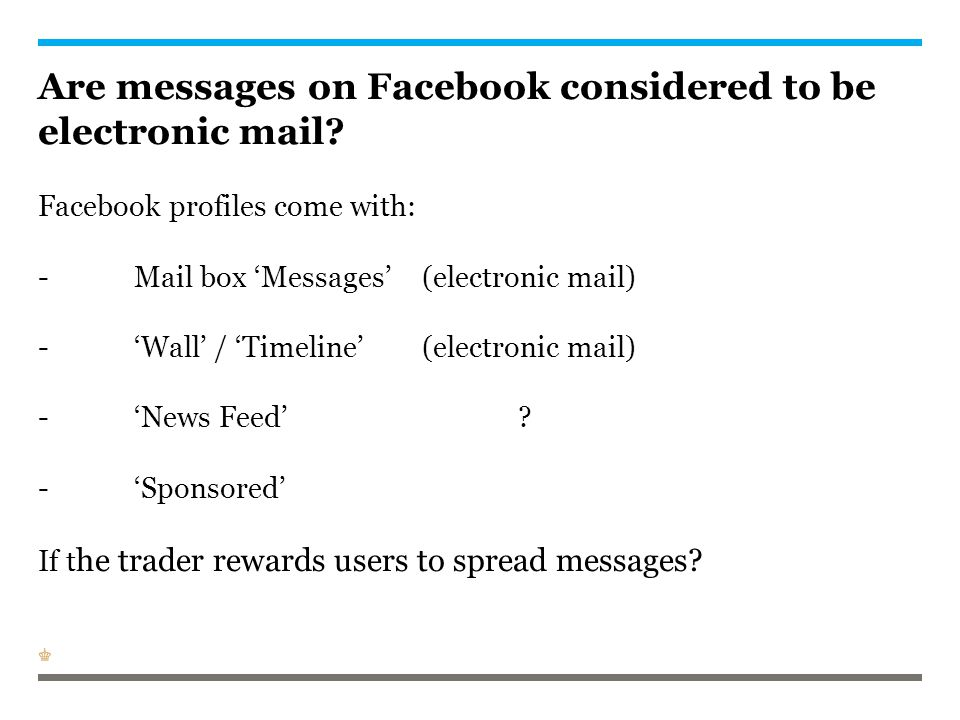 Are messages on Facebook considered to be electronic mail