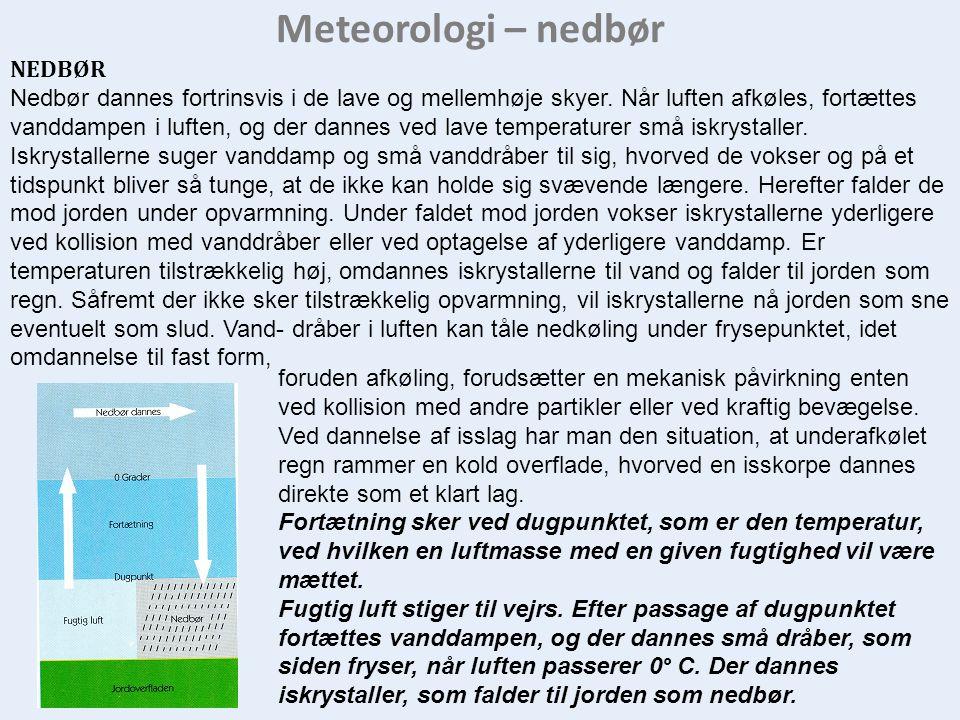 Meteorologi – nedbør NEDBØR