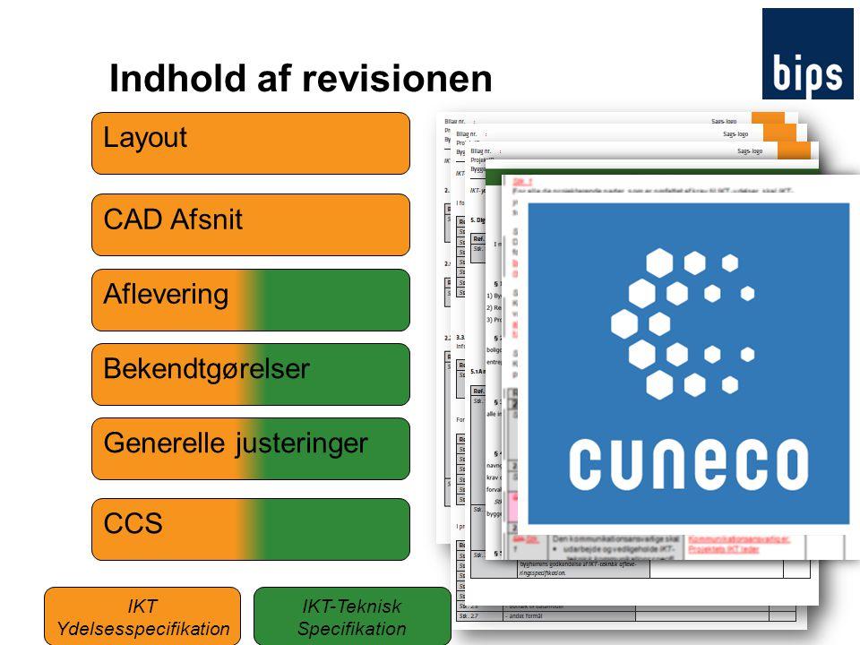 Indhold af revisionen Layout CAD Afsnit Aflevering Bekendtgørelser