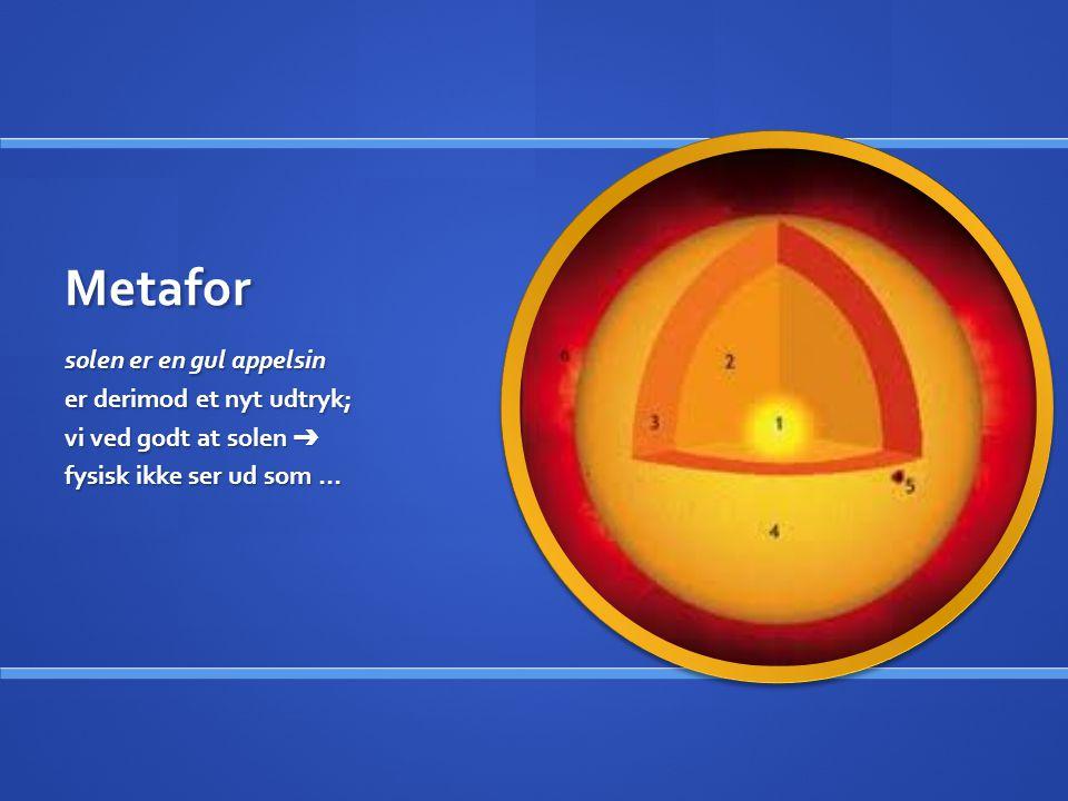 Metafor solen er en gul appelsin er derimod et nyt udtryk;