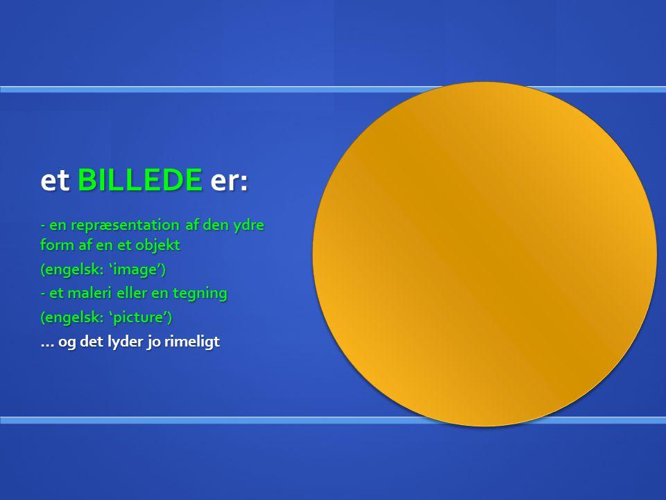 et BILLEDE er: - en repræsentation af den ydre form af en et objekt