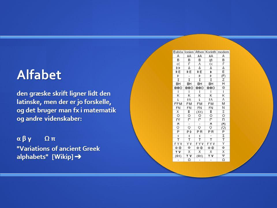 Alfabet den græske skrift ligner lidt den latinske, men der er jo forskelle, og det bruger man fx i matematik og andre videnskaber: