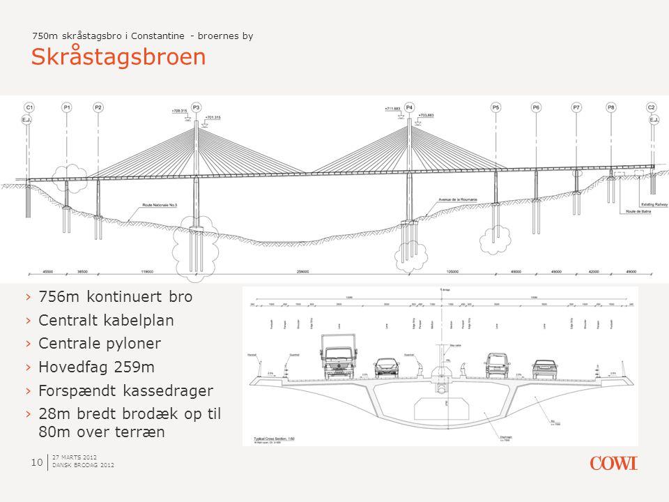 Skråstagsbroen 756m kontinuert bro Centralt kabelplan Centrale pyloner