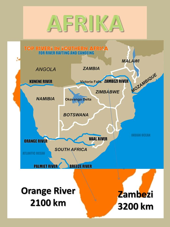 AFRIKA Orange River 2100 km Zambezi 3200 km