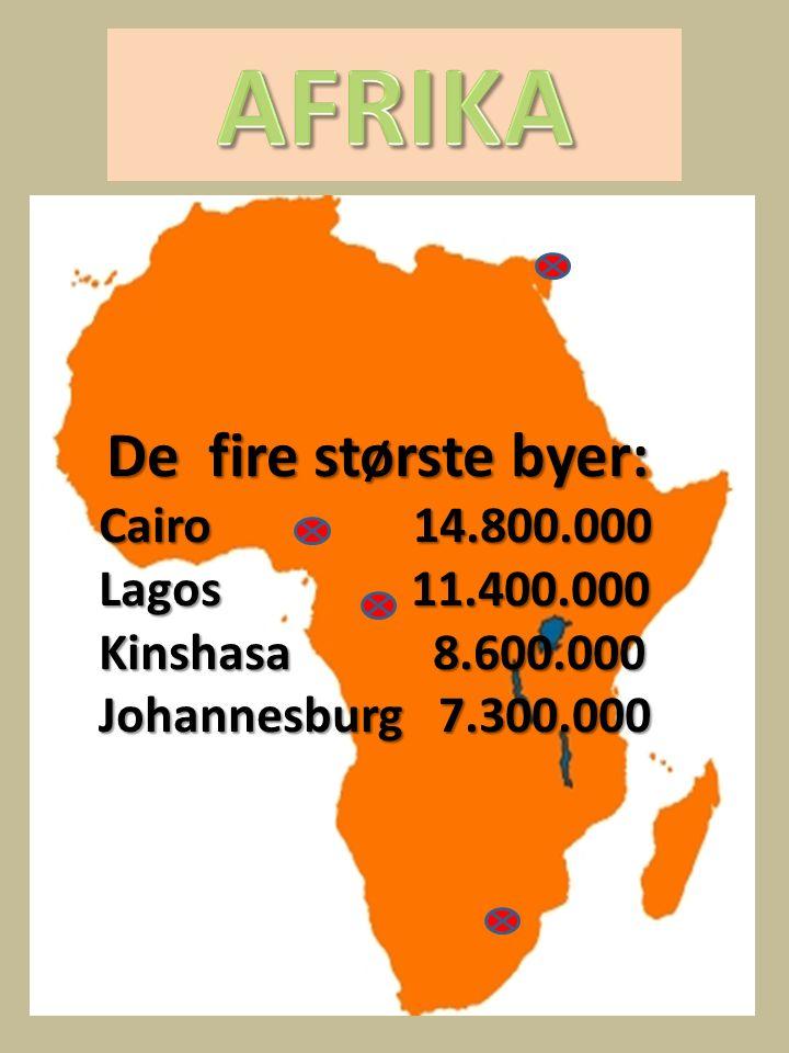 AFRIKA De fire største byer: Cairo 14.800.000 Lagos 11.400.000