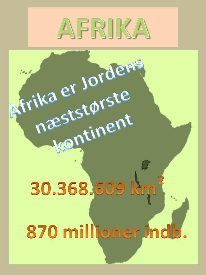 AFRIKA Afrika er Jordens næststørste kontinent 30.368.609 km
