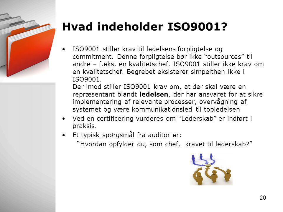 Hvad indeholder ISO9001