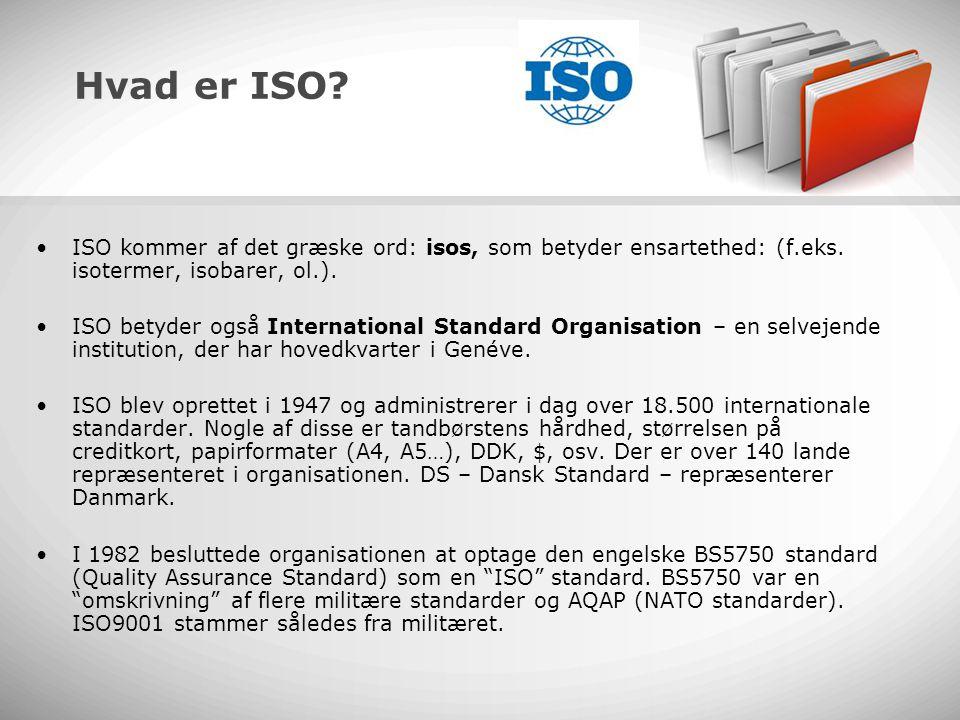 Hvad er ISO ISO kommer af det græske ord: isos, som betyder ensartethed: (f.eks. isotermer, isobarer, ol.).
