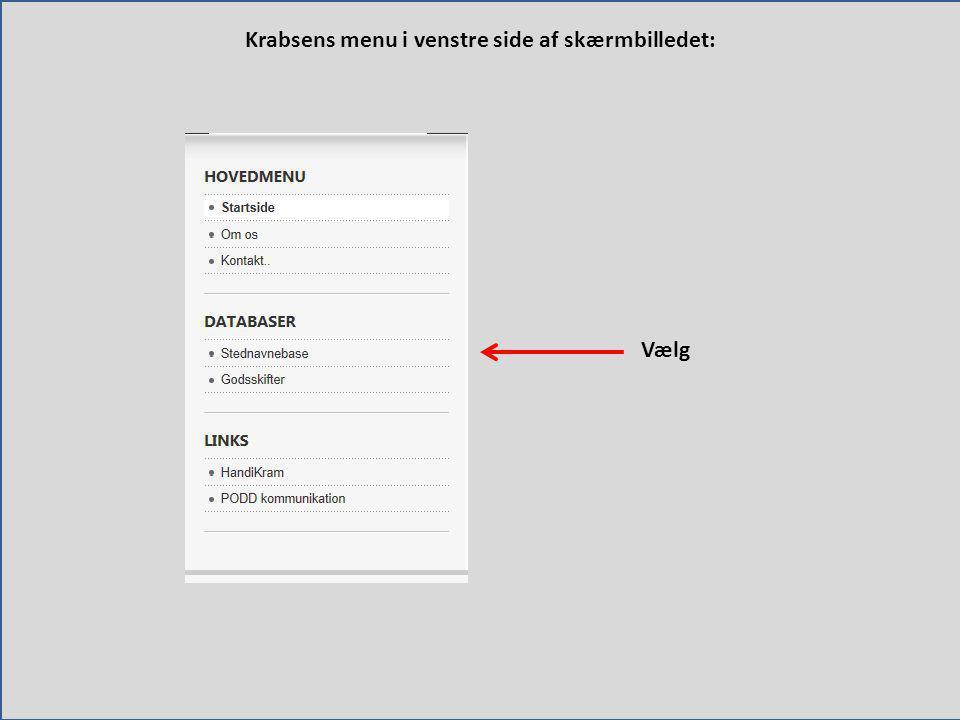 Krabsens menu i venstre side af skærmbilledet:
